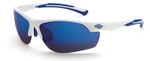 Crossfire AR3 Safety Glasses with White Frame and Full Blue Mirror Lens