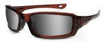 Crossfire M6A Safety Glasses with Crystal Brown Frame and Silver Mirror On Brown Lens