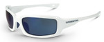 Crossfire M6A Safety Glasses with White Frame and Blue Mirror Lens