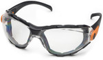 Elvex Go-Specs Safety Glasses with Black Frame, Foam Seal and Clear Anti-Fog Lens