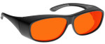 NoIR BluGard OTG Deluxe Nighttime Eyewear with Black Over-Prescription Large Frame and Orange Lens