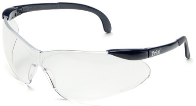 Elvex Trix Safety Glasses with Navy Temples and Clear Anti-Fog Lens