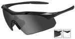 Wiley-X Vapor Safety Sunglasses with Matte Black Frame and Grey and Clear Lenses