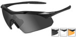 Wiley-X Vapor Safety Sunglasses with Matte Black Frame and Grey, Clear and Light Rust Lenses