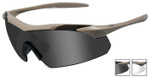 Wiley-X Vapor Safety Sunglasses with Matte Tan Frame and Grey and Clear Lenses