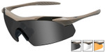 Wiley-X Vapor Safety Sunglasses with Matte Tan Frame and Grey, Clear and Light Rust Lenses