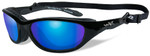 Wiley-X AirRage Safety Sunglasses with Gloss Black Frame and Polarized Blue Mirror Lens
