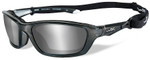 Wiley-X Brick Safety Sunglasses with Crystal Metallic Frame and Silver Flash Lens