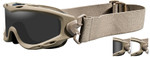 Wiley-X Spear Ballistic Safety Goggle with Tan Frame and Smoke Grey and Clear Lenses