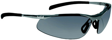 Bolle Contour Metal Safety Glasses with Silver Frame and Smoke Anti-Scratch and Anti-Fog Lenses