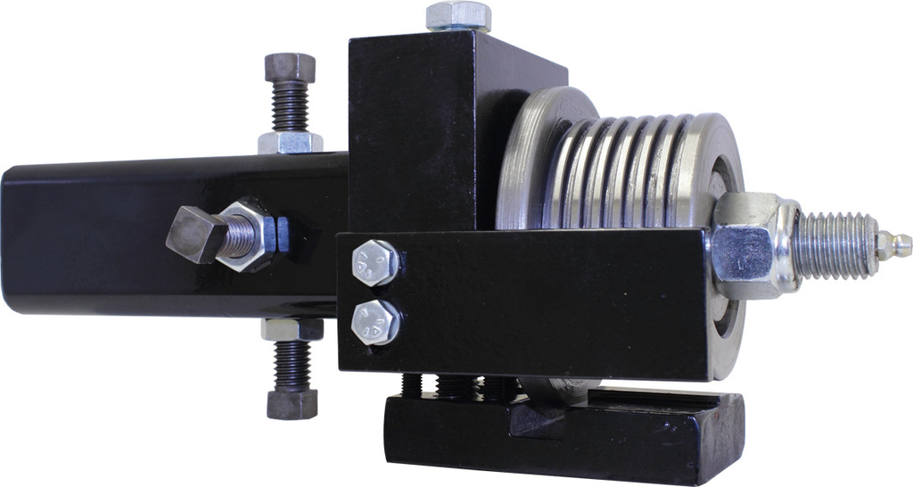 Mega Retrofit with jaw for bandsaw blade guide systems on portable sawmills and resaws