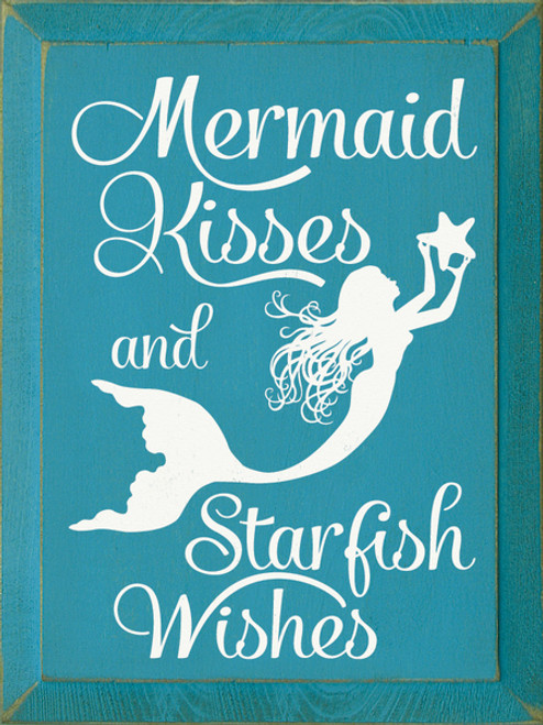 Mermaid Kisses Starfish Wishes 9x12 Wood Sign Country
