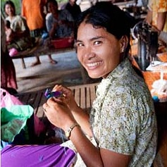 The women Fair Anita works with in Cambodia are exceptionally skilled artisans, creating high-quality products from canvas, recycled materials, and silk printing.