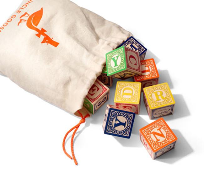 Alphabet Blocks in a Canvas Bag