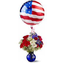 RED WHITE AND BALLOON