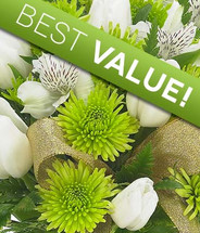 Fresh select green and white flowers chosen by our s=designers for the perfect St. Patrick's Day bouquet