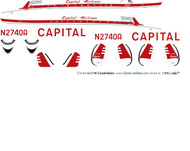 1/144 Scale Decal Capital Airlines 749 Constellation