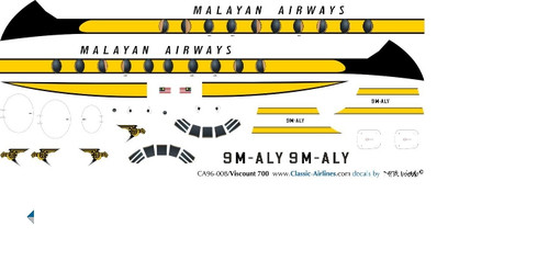 1/96 Scale Decal Malayan Airways Viscount 700