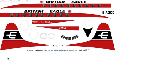 1/96 Scale Decal British Eagle Viscount 700