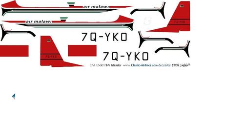 1/72 Scale Decal Air Malawi Islander