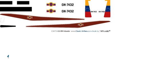 1/72 Scale Decal Venezuelan National Guard BN2 Islander