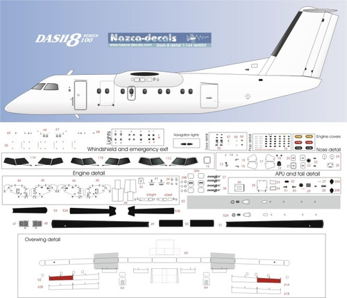 1/144 Scale Decal Detail Sheet Dash-8-100 thru 300