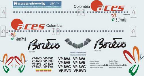 1/144 Scale Decal Aces Columbia A-320 Allianza Summa Livery