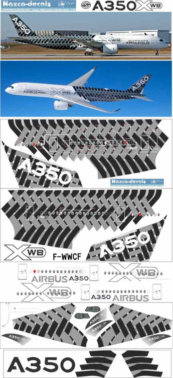 1/144 Scale Decal Airbus A-350 Factory Carbon Livery