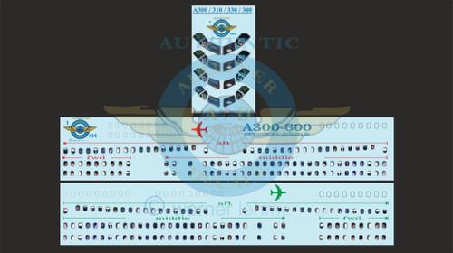 1/144 Scale Decal Lifelike Cockpit / Windows / Doors A300-600