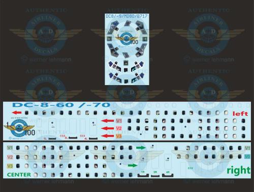 1/100 Scale Decal Lifelike Cockpit / Windows / Doors DC8-60 / 70