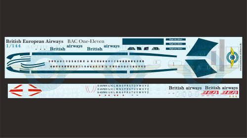 1/144 Scale Decal BEA / British Airways BAC111-500 With Lifelike Cockpit / Windows
