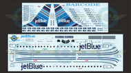 1/144 Scale Decal Jet Blue ERJ-190 BARCODE With Lifelike Cockpit / Windows