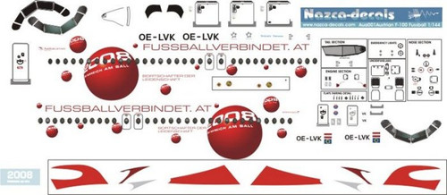 1/144 Scale Decal Austrian Airlines F-100 Fussball Livery