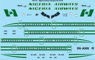 1/144 Scale Decal Nigeria Airways McDonnell Douglas DC-10-30