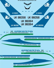 1/144 Scale Decal Uzbekistan Airways Ilyushin IL-86 laser decal