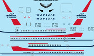 1/144 Scale Decal Wardair Canada Boeing 707-320C