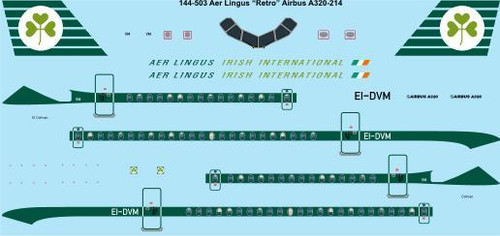 "1/144 Scale Decal Aer Lingus ""Retro"" Airbus A320"