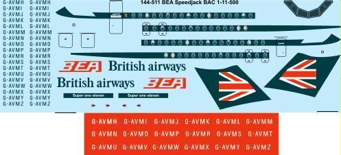 1/144 Scale Decal BEA Speedjack BAC 1-11-500