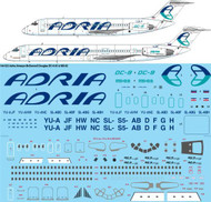 1/144 Scale Decal Adria Airways McDonnell Douglas DC-9-30 & MD-82