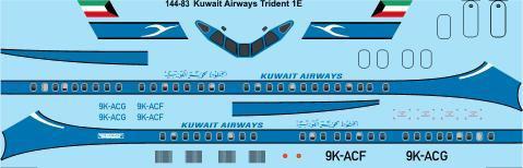 1/144 Scale Decal Kuwait Airways Hawker Siddeley Trident 1E
