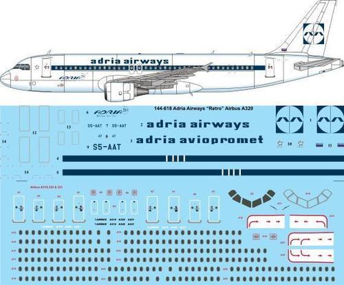 """1/144 Scale Decal Adria Airways """"Retro"""" Airbus A320"""