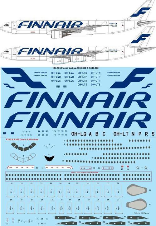 1/144 Scale Decal Finnair Airbus A330-300 & A340-300