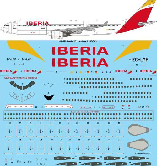 1/144 Scale Decal Iberia 2013 Airbus A330-303