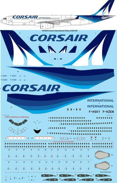 1/144 Scale Decal Corsair International Airbus A330-343
