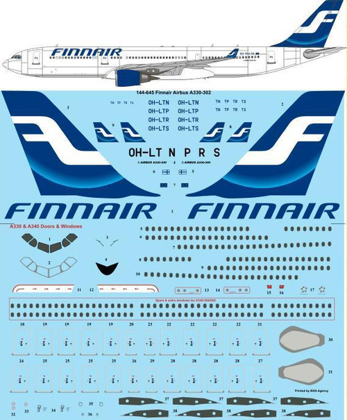 1/144 Scale Decal Finnair (early) Airbus A330-302