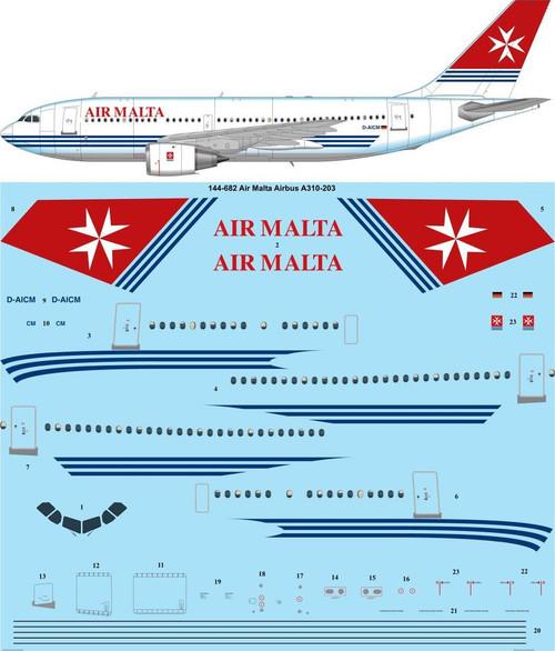 1/144 Scale Decal Air Malta Airbus A310-203
