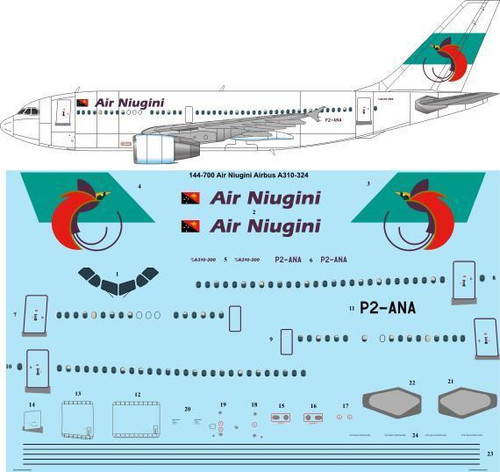 1/144 Scale Decal Air Niugini Airbus A310-324
