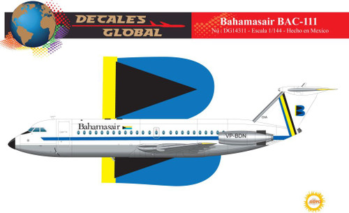 1/144 Scale Decal Bahamasair BAC-111