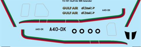 1/72 Scale Decal Gulf Air Britten Norman Islander