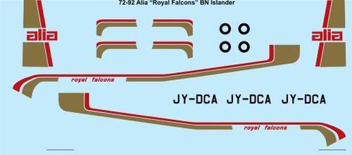 1/72 Scale Decal Alia Royal Falcons Britten Norman Islander